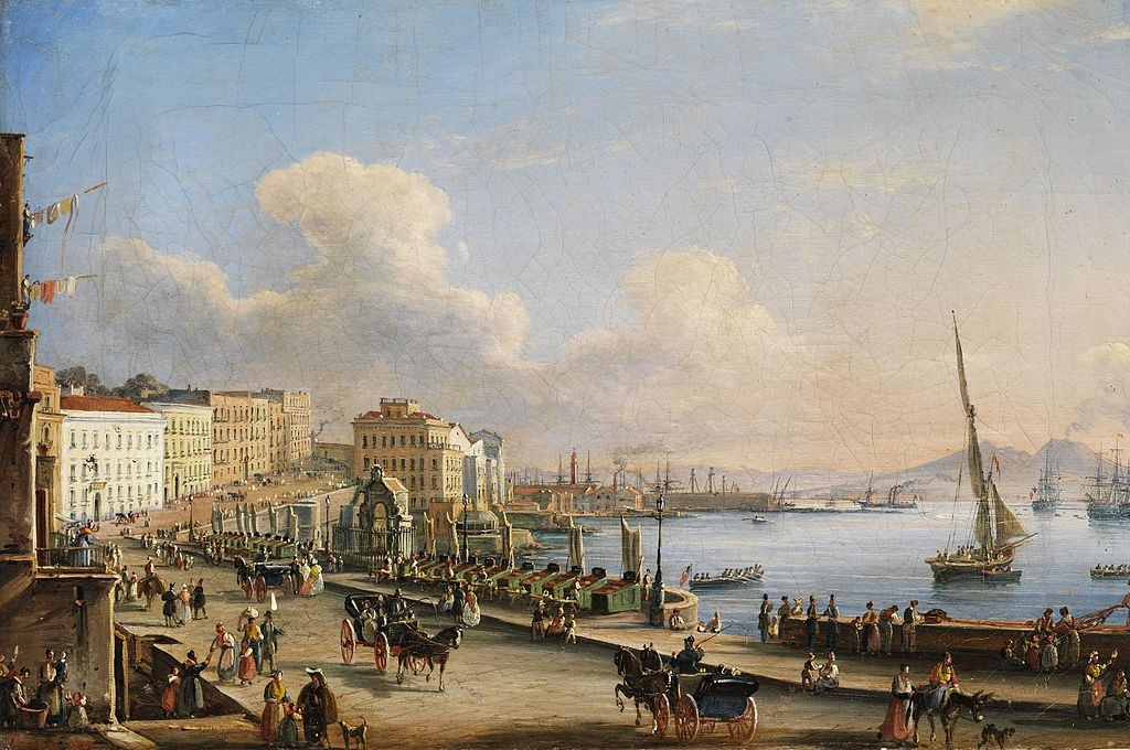 Napoli da Santa Lucia, dipinto di Salvatore Candido, 1840