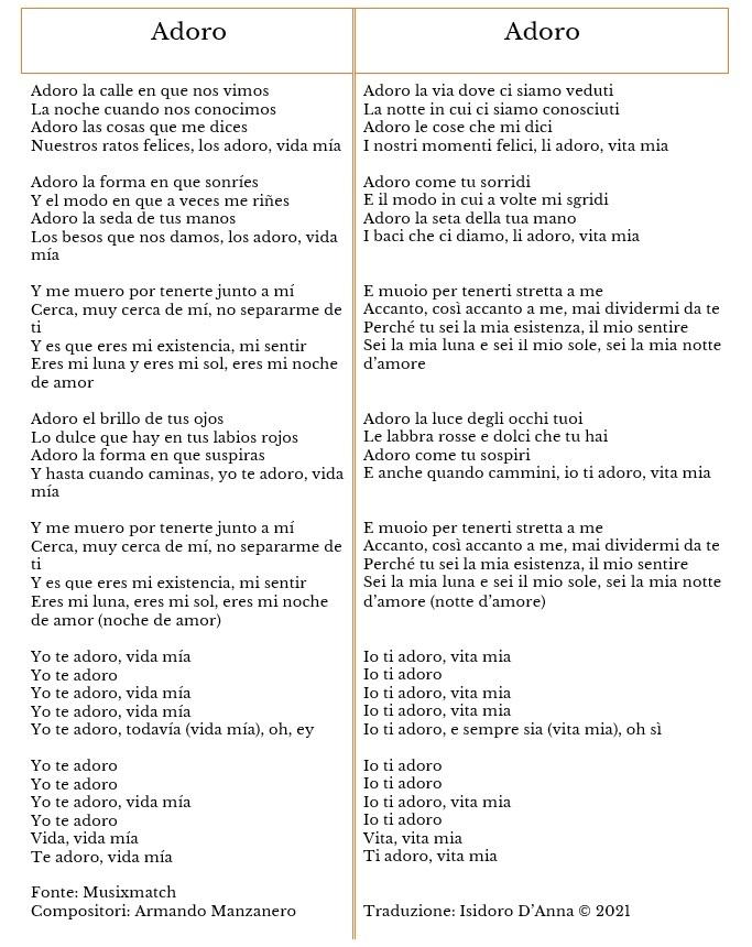 Adoro (Armando Manzanero) - traduzione di Isidoro D'Anna